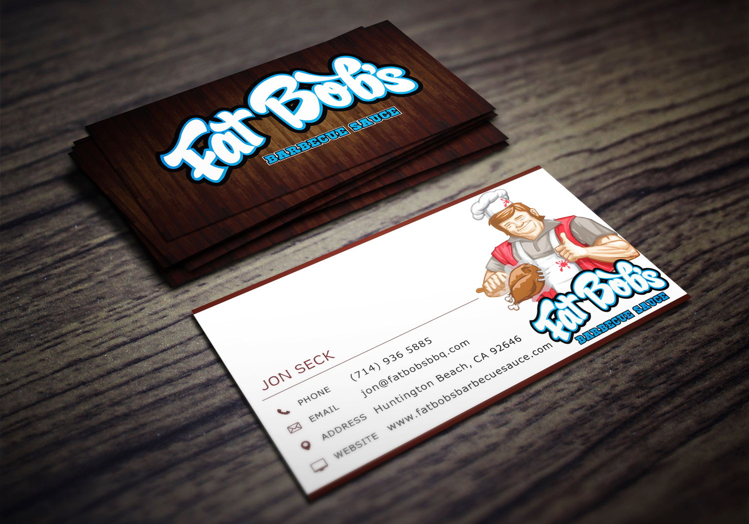 Jennifer | Jenniee Designs : Fat Bob\'s Barbecue Sauce Business Card